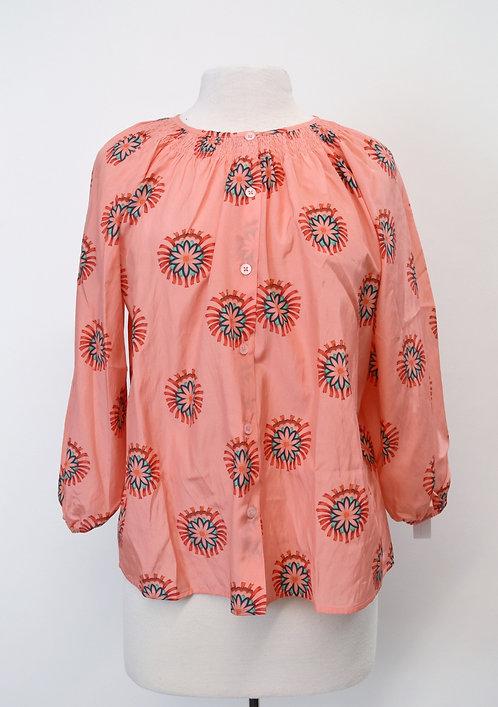 Tucker Peach Floral Blouse Size XS