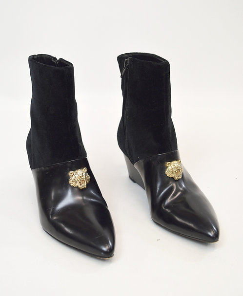Kenzo Black Velvet & Leather Boots Size 8