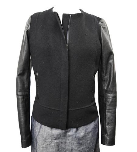 Vince Black Wool & Leather Jacket Size Large