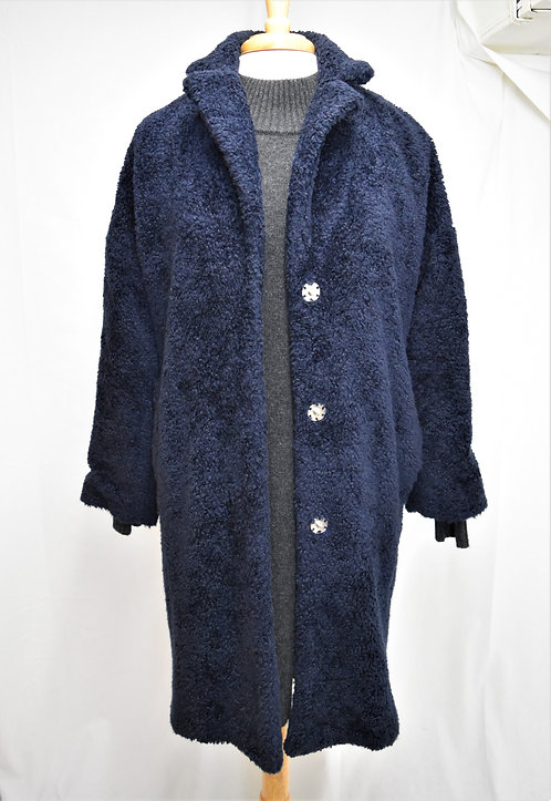 Whistles Navy Teddy Button-Up Coat Size Small