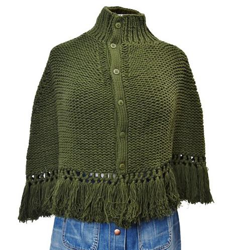 Susana Monaco Green Knit Poncho
