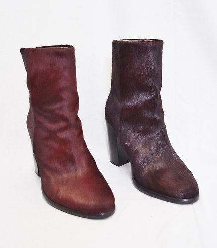 All Saints Two-Tone Maroon Calf Hair Boots Size 7