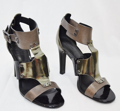 Tory Burch Gray & Silver Leather Heels Size 7.5