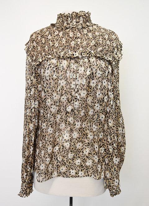 Kate Spade Tan Metallic Floral Print Blouse Size Medium