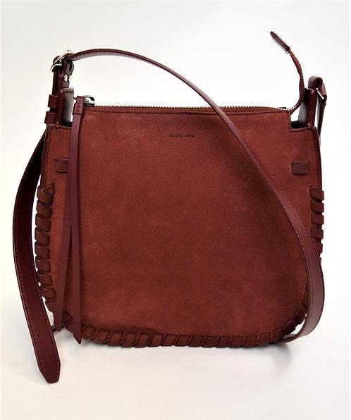 AllSaints Red Suede Crossbody Bag