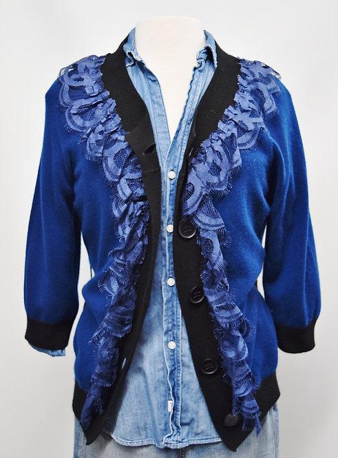 Robert Rodriguez Blue Knit Cardigan Size Medium