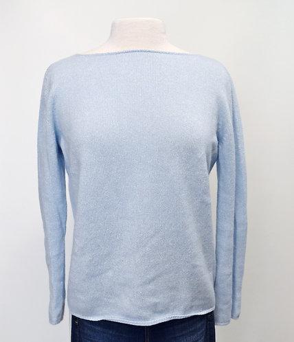 Agnona Light Blue Cashmere & Linen Sweater Size Small