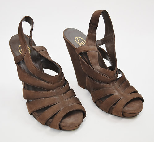 Ash Brown Leather Wedges Size 8.5