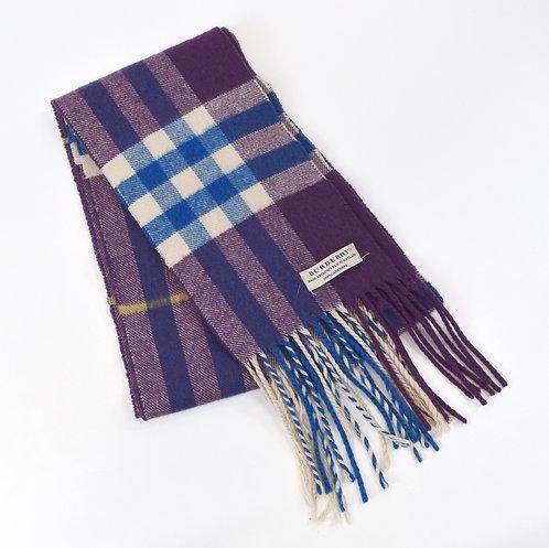 Burberry Purple House Check Cashmere Scarf