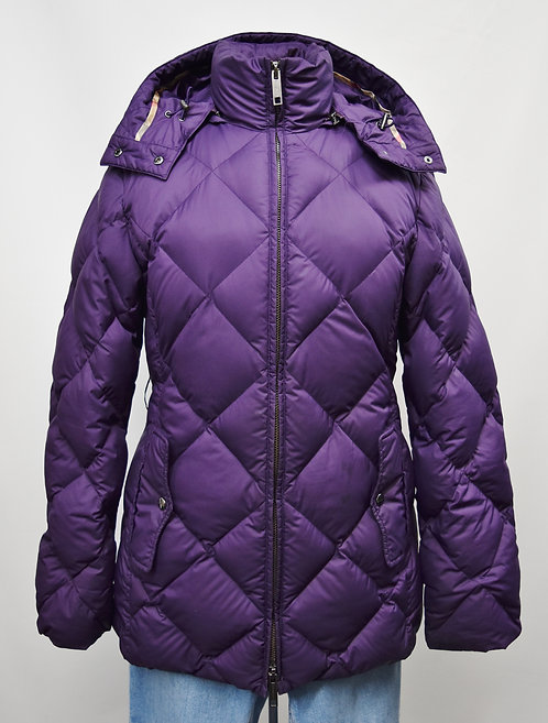 Burberry Purple Quilted Puffer Coat Size Medium