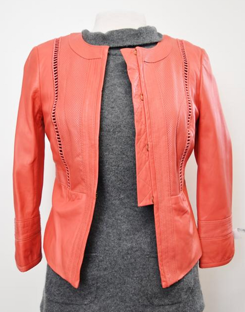 Tory Burch Coral Leather Jacket Size XS