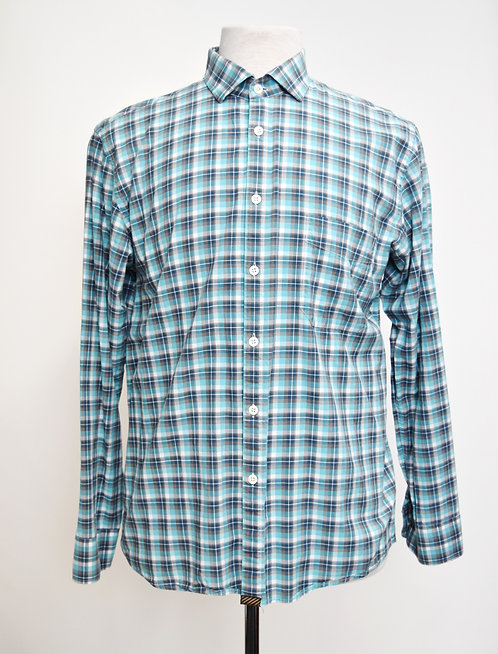 Billy Reid Teal Plaid Shirt Size Large