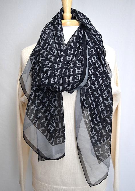 Burberry Black & Gray Monogram Scarf