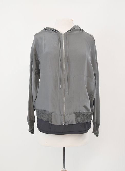 ATM Gray Zip-Up Jacket Size Large