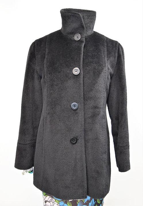 Cinzia Rocca Black Lama & Wool Coat Size Small