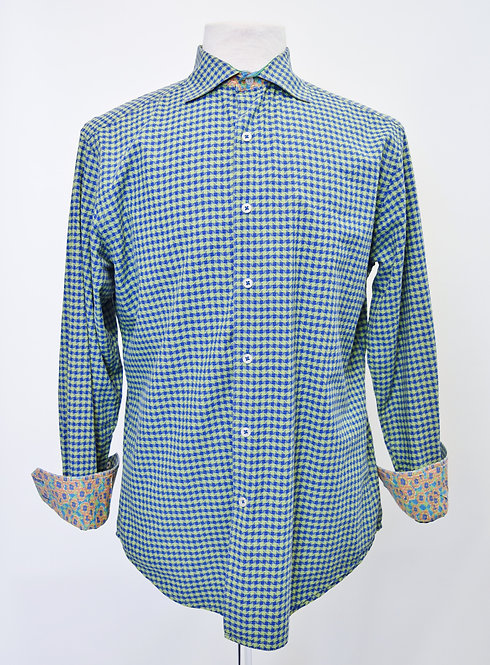 Robert Graham Green & Blue Print Shirt Size Medium