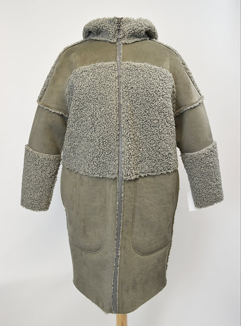 Bimba Y Lola Gray Faux-Shearling Coat Size XS/Small