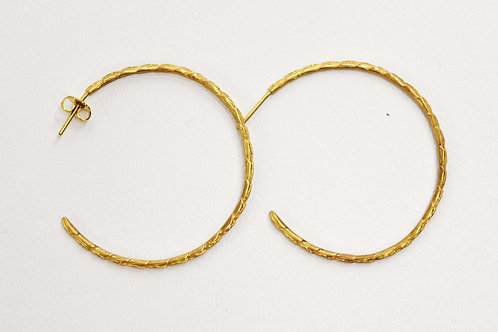 Textured Gold Plated Hoop Earrings