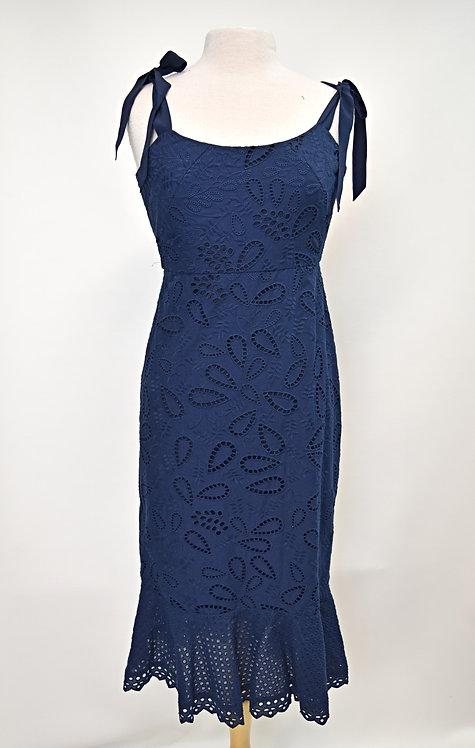Saloni Navy Lace Dress Size Small (6)