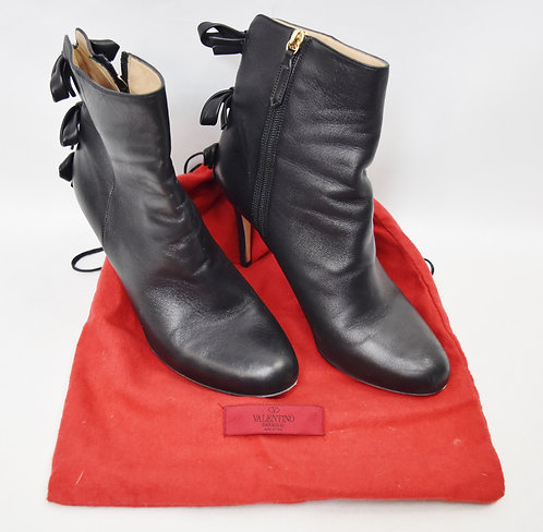 Valentino Black Leather Booties Size 8