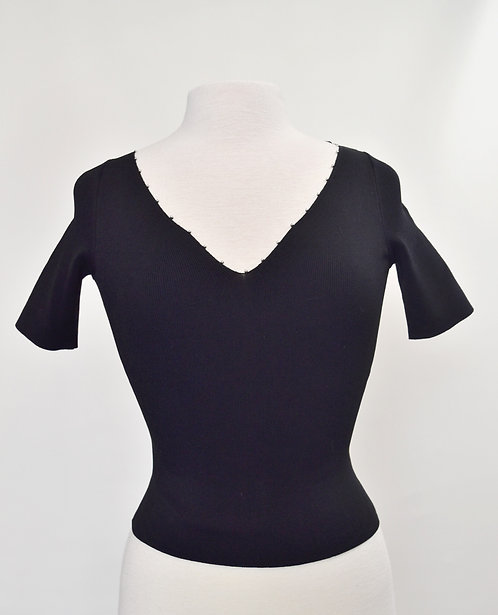 Sandro Black Ribbed Knit Top Size Small