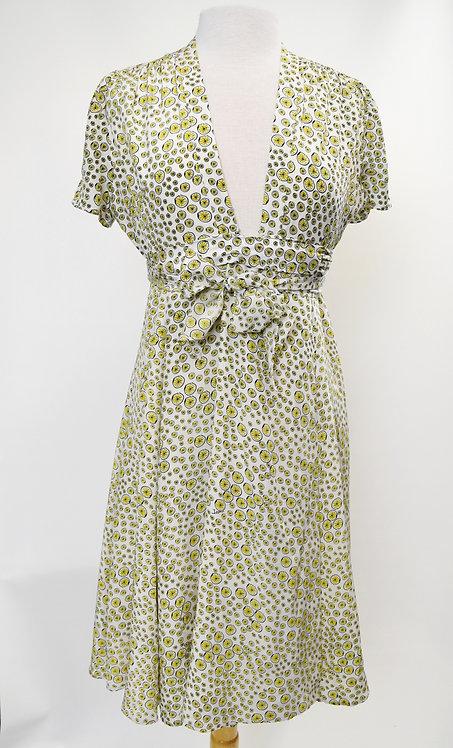 Issa White Lemon Print Dress Size Medium (8)