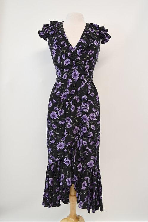 Michael Kors Collection Black Floral Dress Size XS