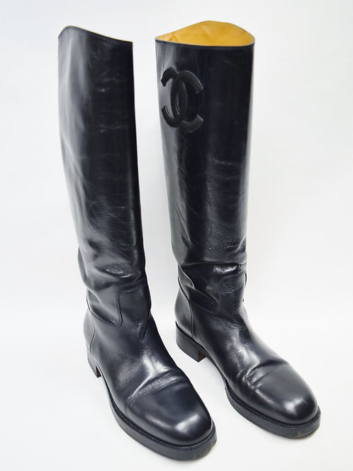 Chanel Navy Leather Boots Size 10