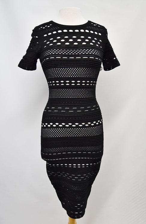 Milly Black & White Knit Cut Out Dress Size Small