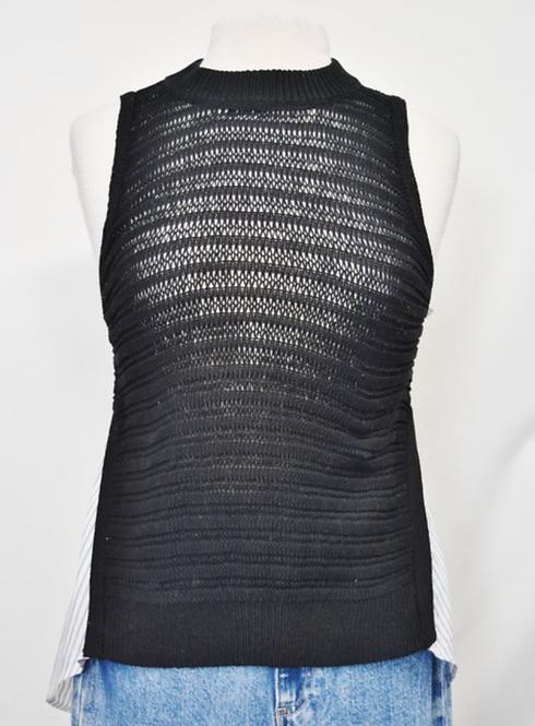Veronica Beard Black Knit & White Cotton Top Size Medium