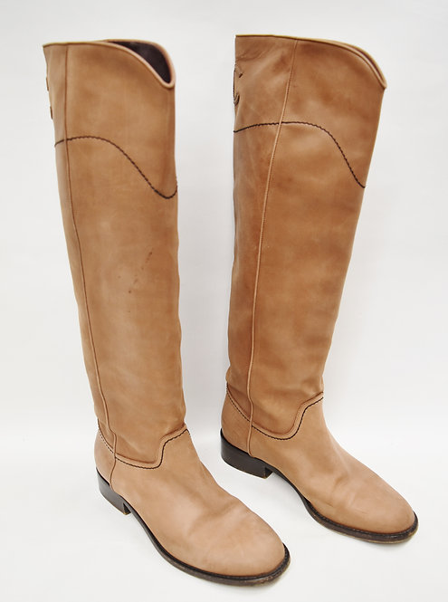 Chanel Knee High Tan Leather Boots Size 7