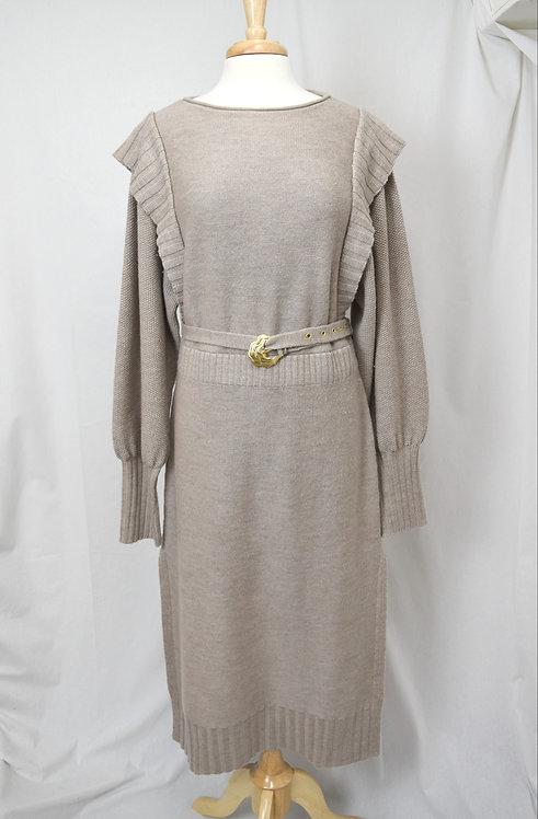 Nicholas Beige Wool Knit Dress Size Medium (10)