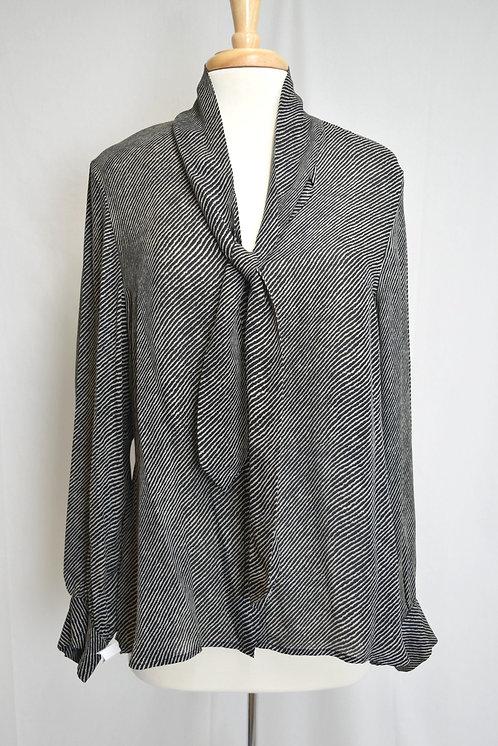 L'Agence Black & White Stripe Blouse Size Large