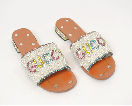 """Gucci """"Guccy"""" Crystal Slide Sandals Size 10"""