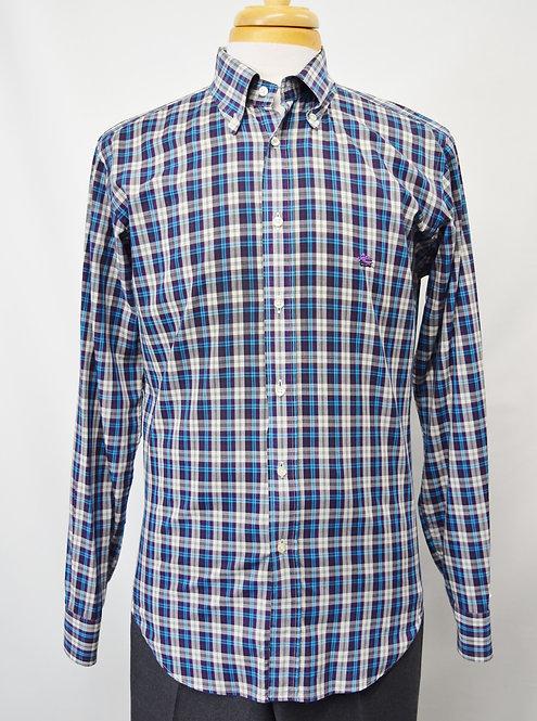 Etro Blue & Purple Plaid Shirt Size Medium