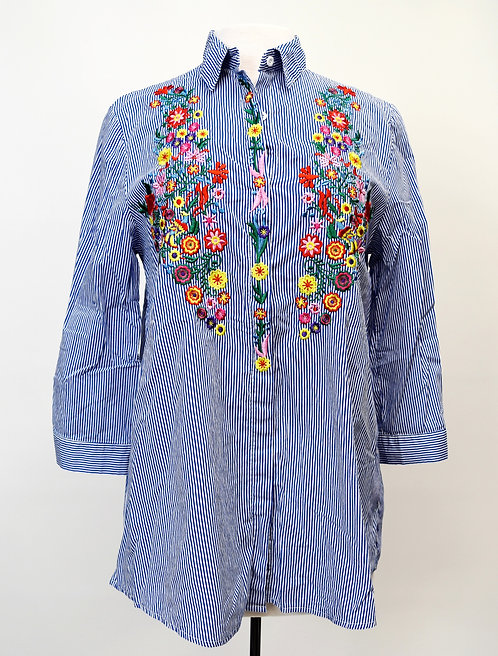 Maisy Cummings Blue Stripe Embroidered Blouse Size Small