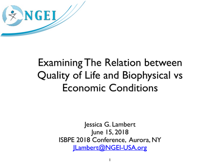 Examining The Relation between Quality of Life and Biophysical vs Economic Conditions