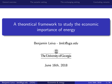 A theoretical framework to study the economic importance of energy
