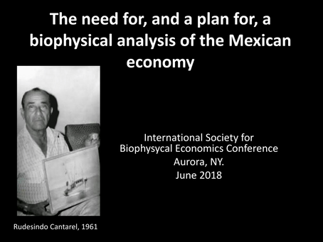 The need for, and a plan for, a biophysical analysis of the Mexican economy