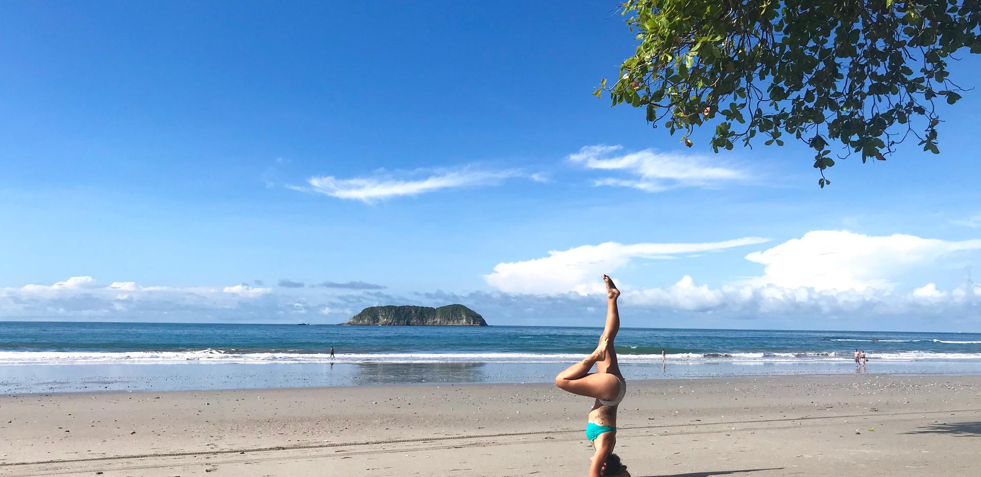 Beach headstand