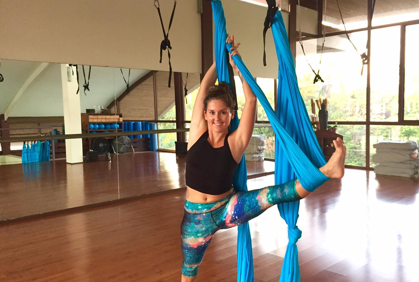Aerial yoga stretch