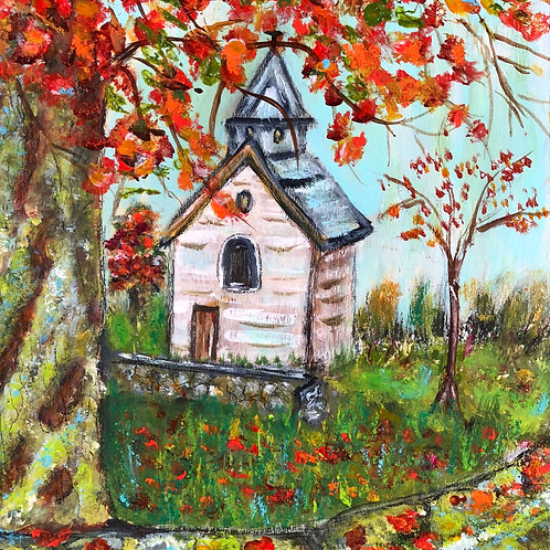 Country church in Autumn -Print