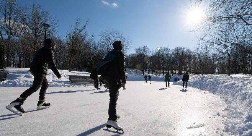 Skating beside Beaver Lake Pavilion