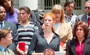 Carrie Davis speaking about expanding the city's human rights laws on the steps of City Hall in 2000. With Bill Perkins, Nora Molina, Barbra Ann Perina, Charles King, Tim Sweeney, Melissa Sklarz and others in New York, NY.