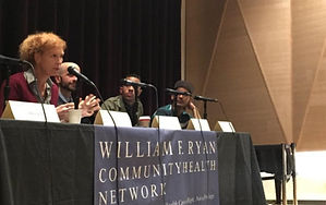 Carrie Davis speaking during a November 2015 town hall about PrEP at the LGBT Community Center. With Michael Slater, Tiffany M., Dr. Demetre Daskalakis, Victor Hogue and Kashif Amin. New York, NY