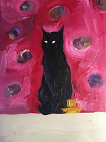 Anna Barden still life with yellow cup black cat