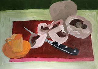 Anna Barden Yellow Cup still life mushrooms and knife
