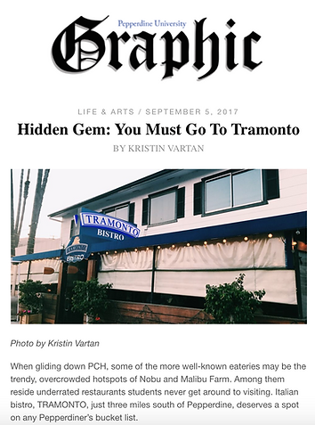 Tramont Bistro Italian restaurant malibu videos and articles
