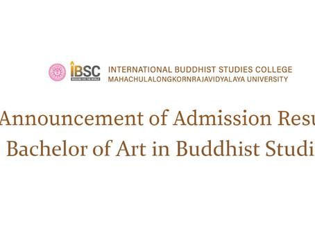 Announcement of Admission Results Bachelor of Art Buddhist Studies