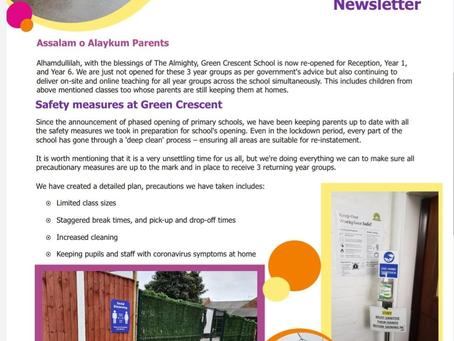 Covid-19 arrangements at Green Crescent School